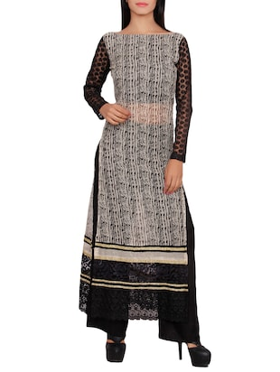 black cotton blend long kurta