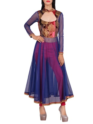 blue net flared kurta