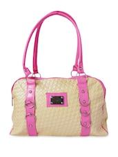Beige Woven Leatherette Handbag - By