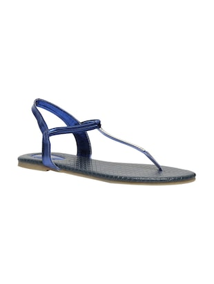 blue leatherette back strap sandals -  online shopping for sandals