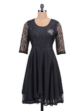 Black Poly Lace Appliqu�� Worked  Dress - By