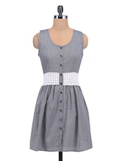 Grey Cotton Dress With Schiffli Fabric Waist-Band - By