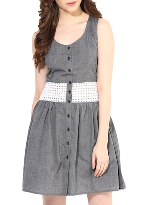 Grey Cotton Dress with Schiffli Fabric Waist-Band -  online shopping for Dresses