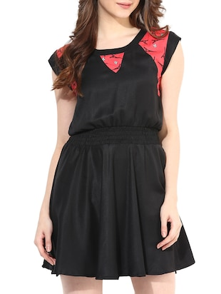 Black Poly-Crepe Fit-and-Flare Dress
