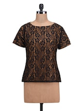 Brown And Black Poly-Lace Top - By