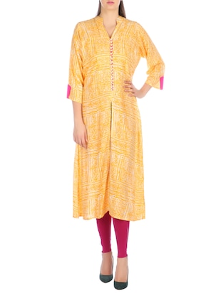 yellow rayon printed high slit kurta