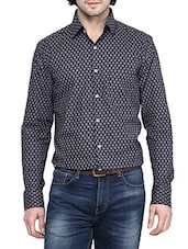 blue cotton printed formal shirt -  online shopping for formal shirts