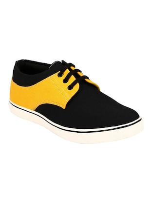 yellow, black lace up Canvas sneaker
