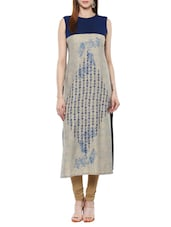 Beige And Blue Cotton Straight Kurta - By