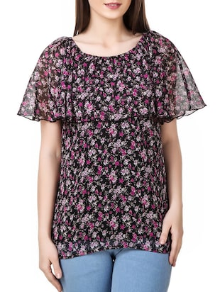 black floral printed chiffon regular top