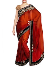 Orange Chiffon  Lace Border Saree - By