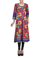 Red Printed Anarkali Cotton Kurti - By