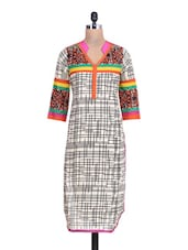 Cream And Black Cotton Printed Kurta - By