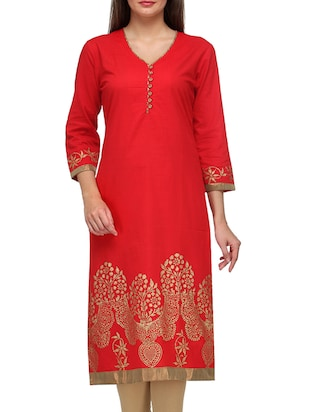 Red Cotton V Neck Kurta