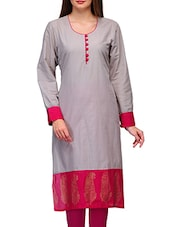 Grey Cotton Printed Round Neck Kurta - By