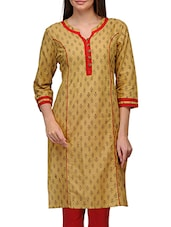 Yellow Cotton Hand Work Printed Round Neck Kurta - By