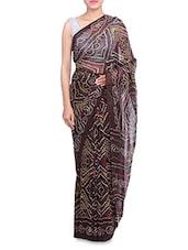 Brown Georgette Printed Saree - By