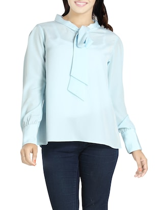 blue crepe top -  online shopping for Tops