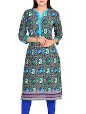 Purple Cotton Printed Straight Kurta - By