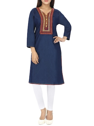 blue denim straight embroidered kurta