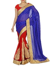 Blue And Red Embroidered Faux Georgette Sari - By