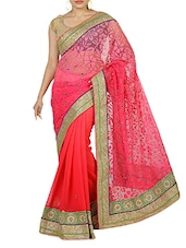 Coral Embellished Net Sari - By