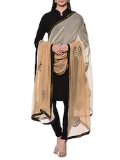 Beige And White Ombre Embroidered Dupatta - By