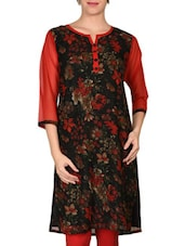 Black And Red Georgette Printed Kurta - By