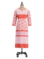 Orange And White Printed Cotton Kurta - By