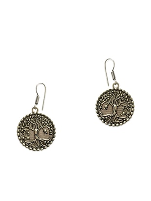 silver metal drop earring