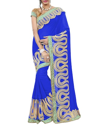 blue georgette embroidered saree