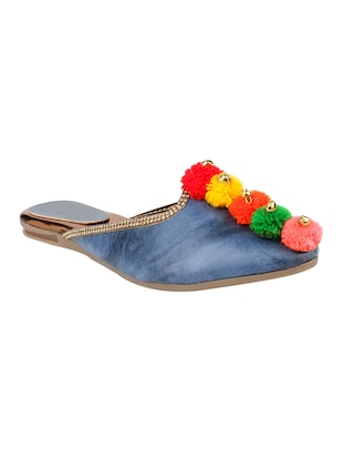 Blue Pom Poms Slip On  Jutis & Mojaris