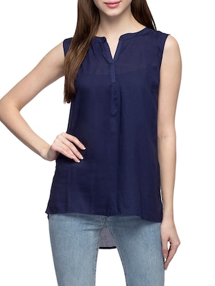 navy blue viscose assymmetric top