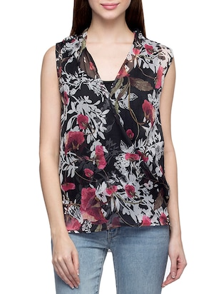 black flora printed regular top