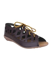 brown lace-up sandal -  online shopping for sandals