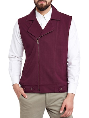 wine cotton nehru jacket