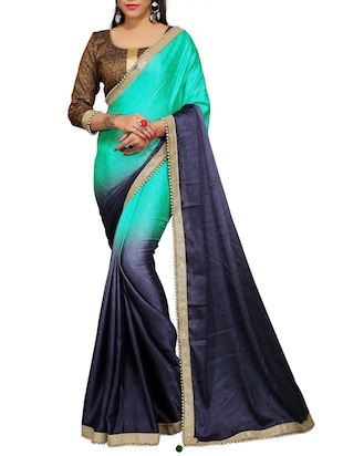 turquoise crepe Ombre saree
