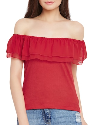 red cotton ruffle top