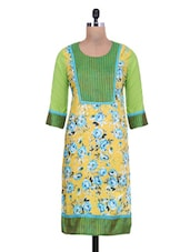 Yellow And Olive Green Cotton Floral Printed Kurta - By