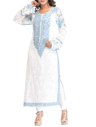 White chikankari embroidered georgette kurta