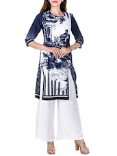 Blue Digital Printed Cotton Straight Kurti - By