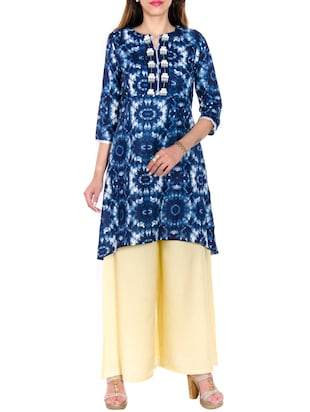 blue colored cotton high low  kurti