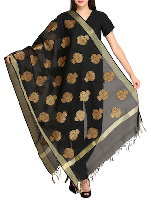 black chanderi dupatta