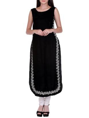 black velvet embroidered long kurta