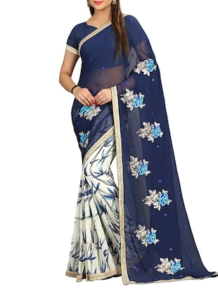 blue georgette half and saree