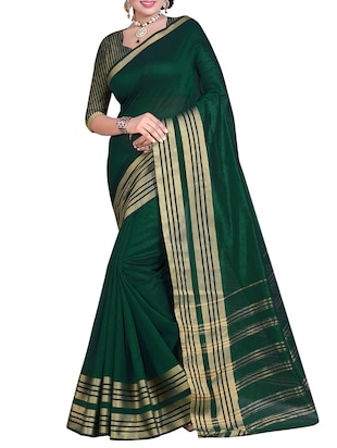 green polyester plain saree