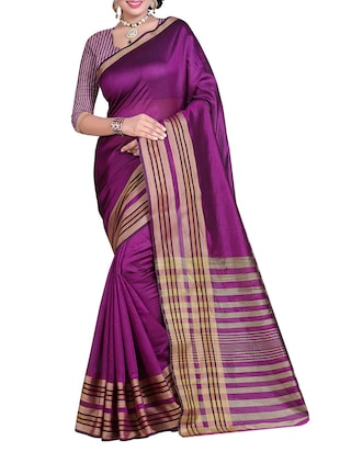purple polyester plain saree