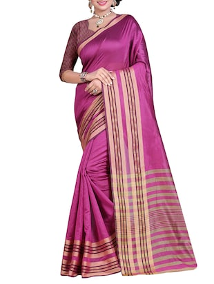 pink polyester plain saree