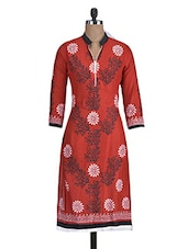 Red Rayon Block Printed Kurti - By