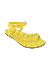 yellow pu back strap sandals -  online shopping for sandals